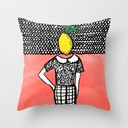 Lemon Head Throw Pillow