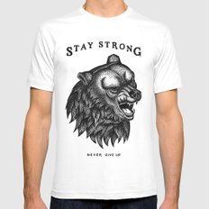 STAY STRONG NEVER GIVE UP 2X-LARGE Mens Fitted Tee White
