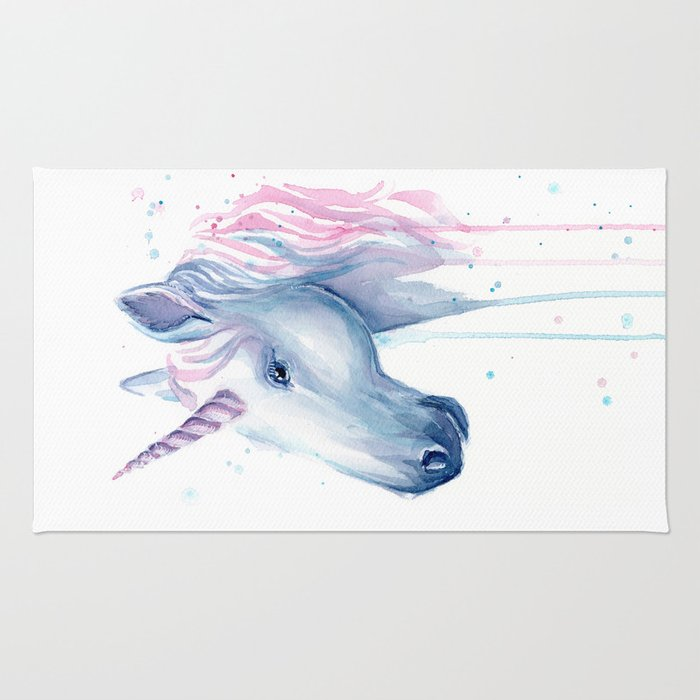 Blue Pink Unicorn Rug