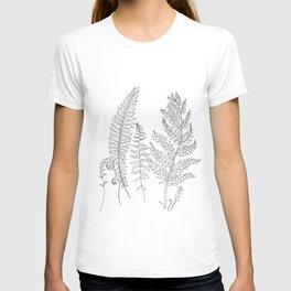 Minimal Line Art Fern Leaves T-shirt