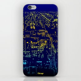 Chicago city lights at night iPhone Skin