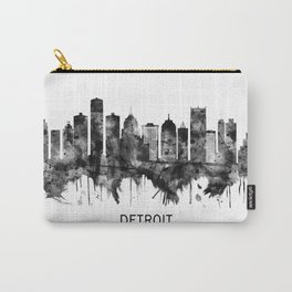 Detroit Michigan Skyline BW Carry-All Pouch