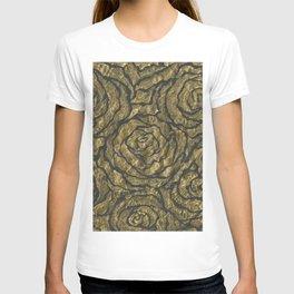Intense Rose Print on Textured Canvas T-shirt