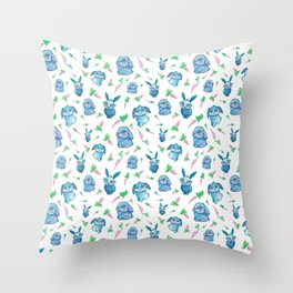 Blue Bunny Pattern Throw Pillow