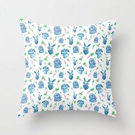 Blue Bunny Pattern Throw Pillow