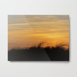 Sunsetting on beach grass Metal Print