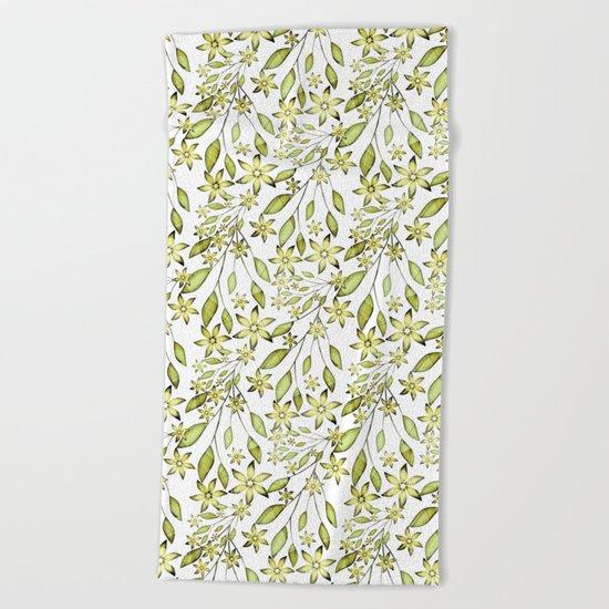 delicate floral pattern. Beach Towel