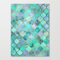 moroccan Canvas Prints featuring Cool Jade & Icy Mint Decorative Moroccan Tile Pattern by micklyn