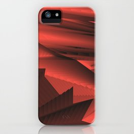 Strange gentle landscap with stylised mountains, sea and red Sun. iPhone Case