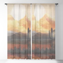 Desert in the Golden Sun Glow Sheer Curtain