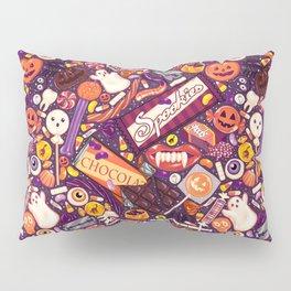 Creepy Halloween Candy on Purple Pillow Sham