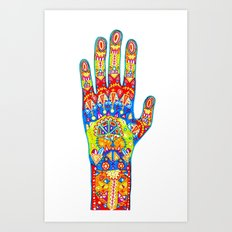 A really colourful hand Art Print