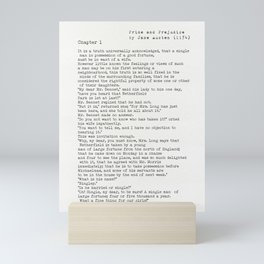 Jane Austen Pride and Prejudice Chapter 1 (public domain books) Mini Art Print