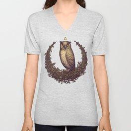 Owl Hedera Moon Unisex V-Neck
