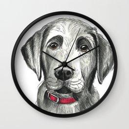 Black Lab Puppy Drawing Wall Clock