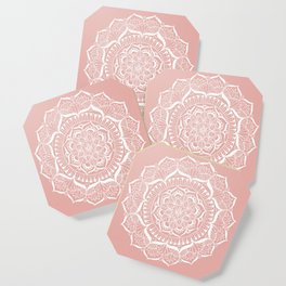 White Flower Mandala on Rose Gold Coaster