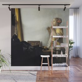 Johannes Vermeer - Woman with a Pearl Necklace Wall Mural