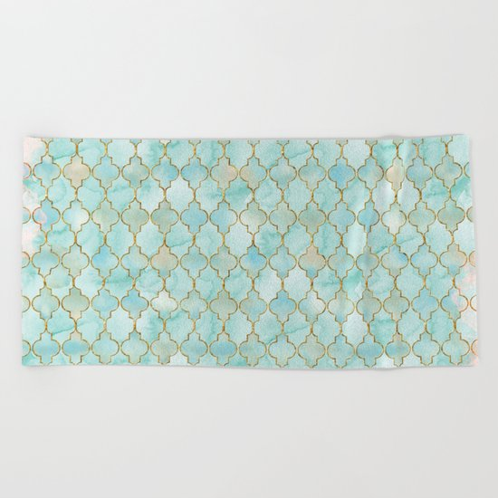 Luxury Aqua and Pink and Gold oriental pattern Beach Towel