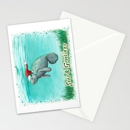 "Seas and Greetings ~ ""Mossy Manatee"" by Amber Marine ~ Watercolor ~ (Copyright 2016) Stationery Cards"