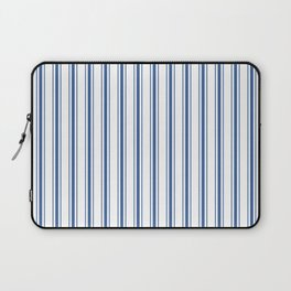 Mattress Ticking Wide Striped Pattern in Dark Blue and White Laptop Sleeve
