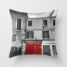 Red Caffe in Venice Black and White Photography Throw Pillow