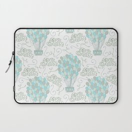 Vintage hot air balloons line drawing pastel turquoise blue Laptop Sleeve