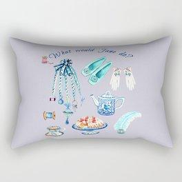Jane Austen sewing, tea, cake favourite Regency pastimes illustrated in watercolor Rectangular Pillow