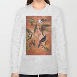 Blue Grosbeak with Sweetbay Magnolia, Vintage Natural History and Botanical Long Sleeve T-shirt