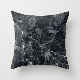 Black marble texture Throw Pillow