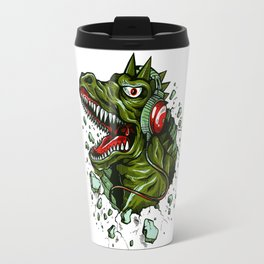 Dino with Headphones Brown Raw Umber Travel Mug
