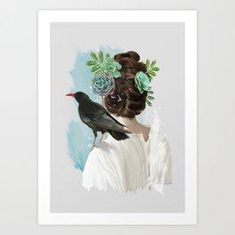 Girl&bird Art Print