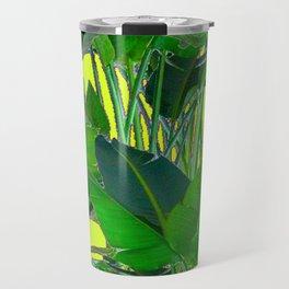 DECORATIVE TROPICAL GREEN FOLIAGE & CHARTREUSE ART Travel Mug