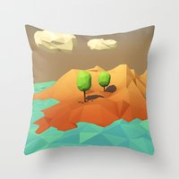 low poly Throw Pillows featuring Low Poly Landscape by error23
