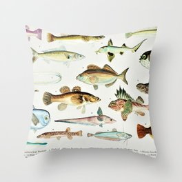 Illustrated Colorful Southern Pacific Ocean Exotic Game Fish Identification Chart No. 4 Throw Pillow