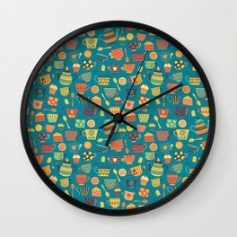 Vintage tea party - tea cups and sweets - teal Wall Clock