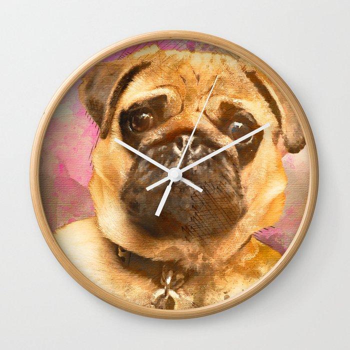 Pug Painting Watercolor Pug Pug Art Pug Print Dog Pug Animal Mixed Media Love Pug Decor Wall Clock