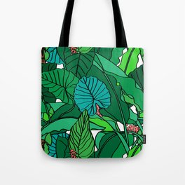 Jungle Leaves Illustrated in White Tote Bag