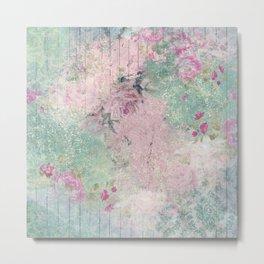 Shabby Garden Fence - Pink & Aqua Metal Print