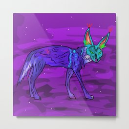 Coyote in the Night Metal Print