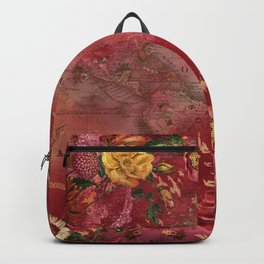 Vintge Cartography World Map wth Red Flora Arrangements Backpack