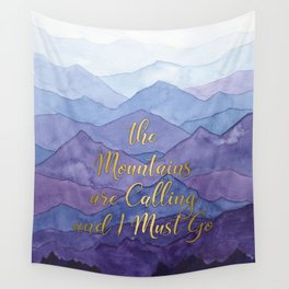 Blue Watercolor Mountains Calling Wall Tapestry