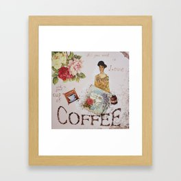 Collage happiness Coffee insprational quote motivation shabby chic by Ksavera Framed Art Print