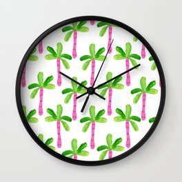 Watercolor Palm Trees in Pink Wall Clock