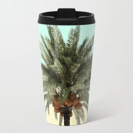 Palm Tree on Cyan and Lemon Wall Travel Mug