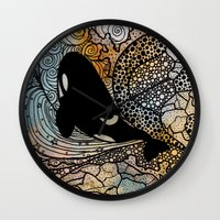 killer whale Wall Clocks featuring Killer Whale by Nemki