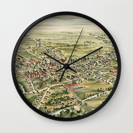 Vintage Pictorial Map of Derry NH (1898) Wall Clock