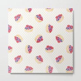 Vintage lavender pink ivory polka dots berries pie pattern Metal Print