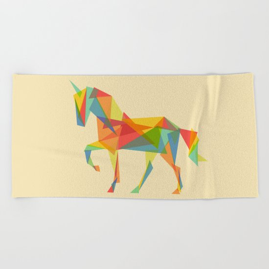 Fractal Geometric Unicorn Beach Towel