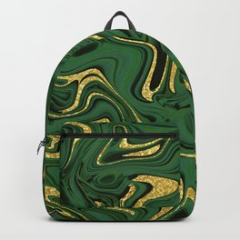 Luxury Marble Pattern in Emerald, Gold, Green and Copper Backpack