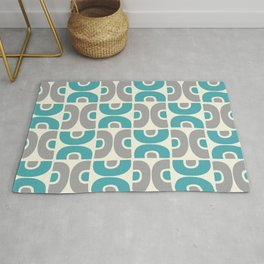 Funky Mid Century Modern Pattern 554 Gray and Turquoise Rug